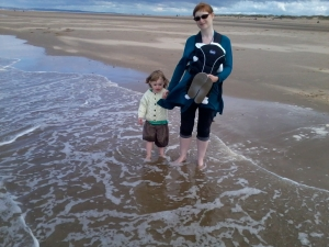 Elliot and Mummy Paddling - Big