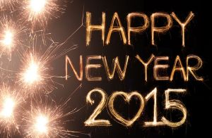 Happy new year 2015 written with Sparkling figures