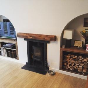 Reclaimed oak Mantel and shelves
