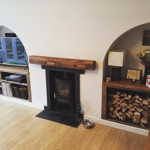 Reclaimed oak Mantel and shelves