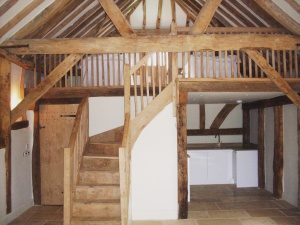reclaimed oak stairs and beams